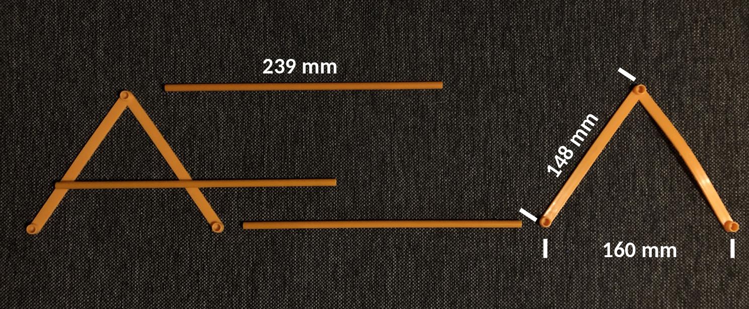 Dimensions des éléments de structure de la tente Kiki